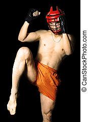 lutador, em, capacete esportes, pronto, chutar, joelho