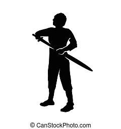 lutador, forte, silueta, espada