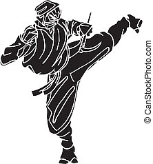 lutador, illustration., -, vetorial, vinyl-ready., ninja