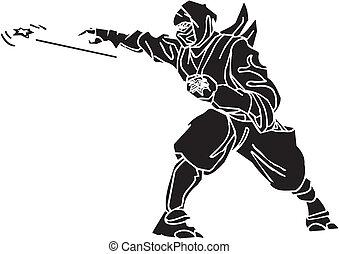lutador, illustration., -, vetorial, vinyl-ready., ninja