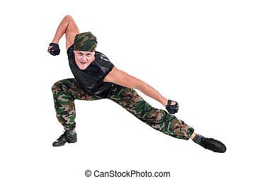 lutador, vestido, isolado, soldado, posar, frente, branca, homem