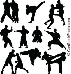 lutadores, silhuetas