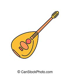 Lute icon, cartoon style - Lute icon. Cartoon lute vector...