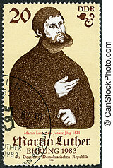 luther, 1982, estampilla, -, eisenach, 1982:, alemania,...