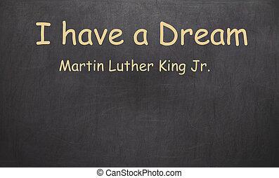 luther, re, jr., gesso, scritto, nero, lavagna, possedere, martin, sogno