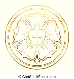 Luther Rose Symbol Golden Flower - Luther rose symbol....