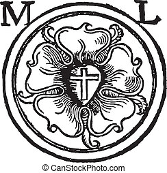 Luther Rose Woodcut - Luther Seal Woodcut, also called...