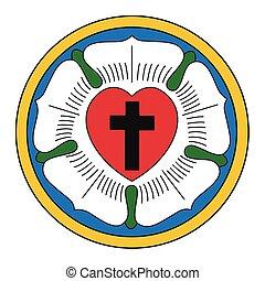 luther, tegn., rose., christianity., vektor, religiøs,...