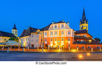 Lutheran Cathedral, with Huet Square, medieval Saxon city of Si