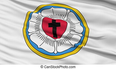 Lutheran Religious Close Up Waving Flag