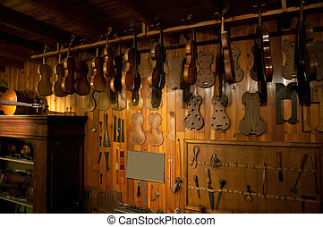luthier, antico, officina