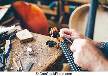 luthier, riparazione, suo, officina, violino