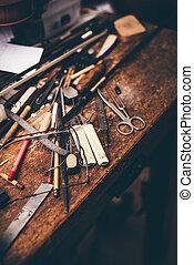 luthier, tavola, stile, vecchio, lavorativo