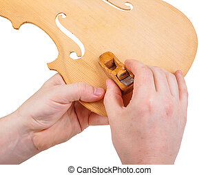 luthier, usando, piccolo aereo, mano