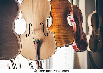 luthier, violino, officina, fatto mano