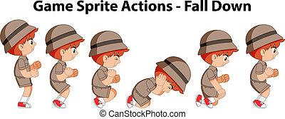 lutin, -, actions, bas, jeu, automne