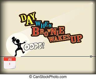 lutin, haut, réveille, jour