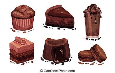 lutin, muffin chocolat, desserts, vecteur, gâteau, ensemble