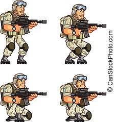 lutin, nous, animation, soldat