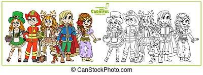lutin, prince, beau, costumes, coloration, pompier, oriental, danseur, carnaval, couleur, cerf, page, esquissé, enfants