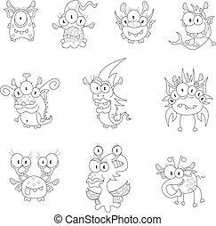 lutins, monstres, dessin animé, fantômes