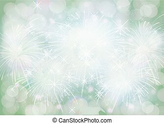 lutning, grön, vinter, snöflinga, gräns, jul, bakgrund