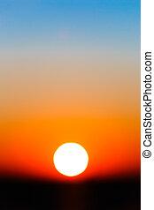 lutning, sol, abstrakt, sky, solnedgång