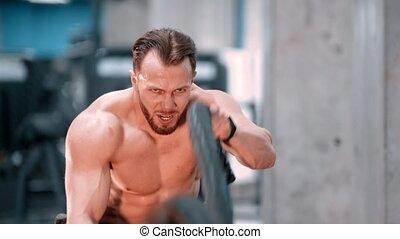 lutte, gymnase, jeune, séduisant, effort, sport, culturiste, homme, cordes