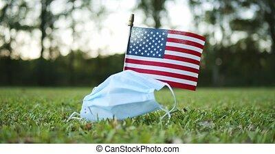 lutte, porté, drapeau, chirurgical, onduler, masque, ...