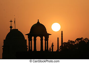 Lutyen\'s Delhi, Delhi, India - Building Silhouette -...