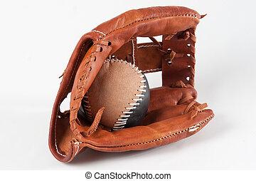 luva beisebol, com, bola