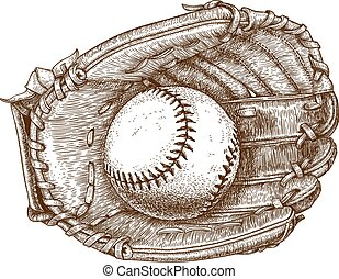 luva beisebol, e, bola
