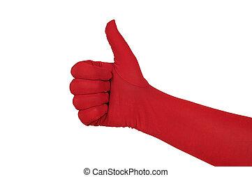 luva, cima, polegares, vermelho, mão