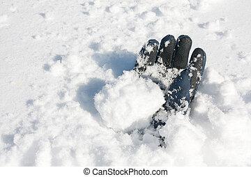 luva, enterrado, em, neve, após, avalanche