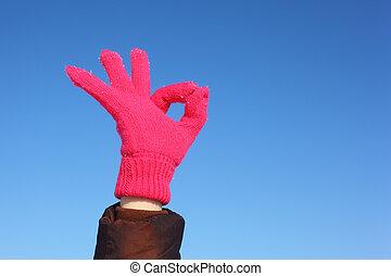 luva, gesto, ok, céu azul, vermelho, mostra, contra, mãos