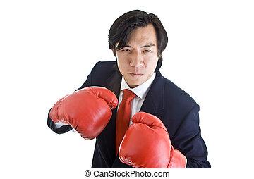 luvas boxing, isolado, zangado, homem, câmera, pronto, soco, asiático