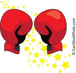 luvas boxing, vermelho, ilustração