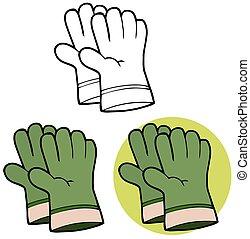 luvas, jardinagem, verde, mão