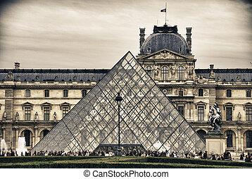 luwr, w, paryż, francja