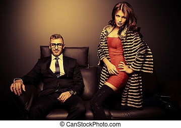 lux people - Beautiful gorgeous couple in elegant evening...