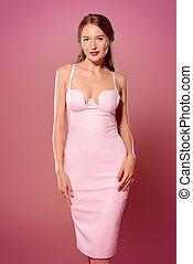 lux pink - Amazing woman wearing elegant fitting dress...