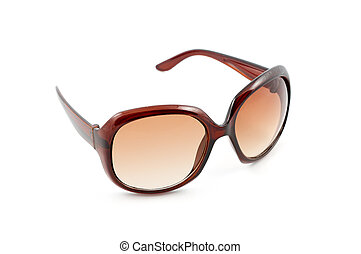Luxary brown sunglasses on isolated white background
