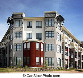 luxe, appartement, (condo), bâtiment