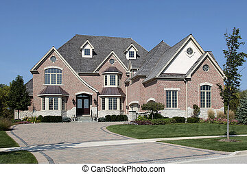 luxe, baksteen, thuis, met, ceder, dak