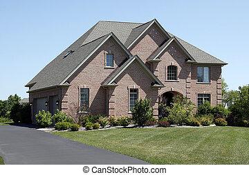 luxe, baksteen, thuis, met, ceder, schudden, dak