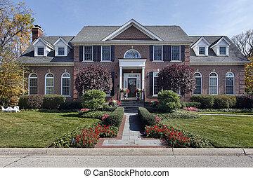 luxe, baksteen, thuis, met, kolommen