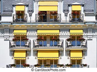 luxe, balcon, hôtel