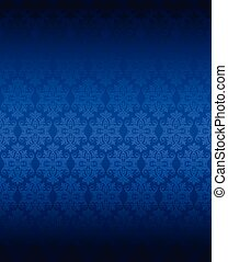 luxe, blauwe , seamless, floral, behang