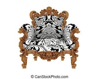 luxe, bleu, isolé, fauteuil, vendange
