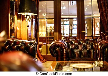 luxe, cabinet, chaise, cuir, intérieur